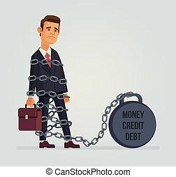 trabalhador, dívida, personagem, escritório