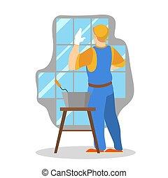 trabalhador, deitando, uniforme, profissional, repairman, tile.