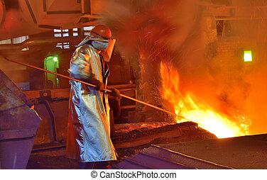 trabalhador, e, producao, de, ferro fundido