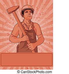 trabalhador, e, um, martelo