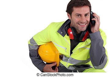 trabalhador, em, engrenagem protetora