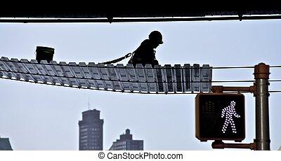 trabalhador, em, local construção