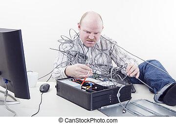 trabalhador escritório, com, problemas computador