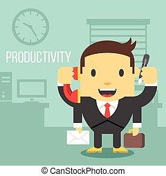 trabalhador escritório, com, quatro mãos