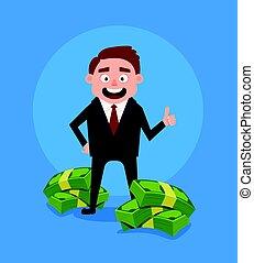 trabalhador escritório, feliz, vetorial, dinheiro., pilha, ficar, caricatura, ricos, apartamento, ilustração, sorrindo, homem negócios, personagem
