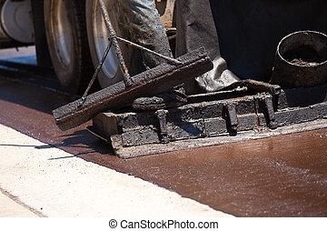 trabalhador estrada, resurfacing, rua