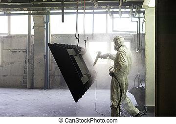 trabalhador, explodir, crate, areia, metal