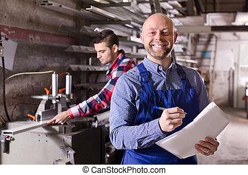 trabalhador, fábrica, saliência
