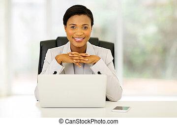 trabalhador, femininas, escritório, africano