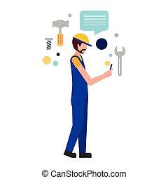trabalhador, fundo, empregado, branca, ferramentas, homem