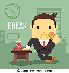trabalhador, hamburger, comer, escritório