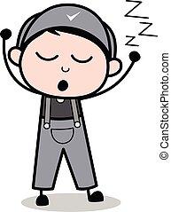 trabalhador, -, ilustração, dormir, enquanto, vetorial, retro, roncar, repairman, caricatura