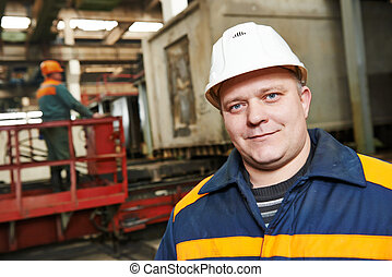trabalhador indústria, fábrica, feliz