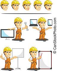 trabalhador, industrial, cust, construção