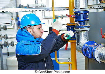 trabalhador industrial, trabalho, instalação