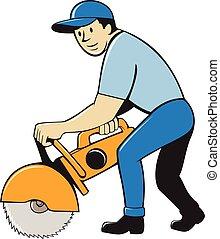trabalhador, isolado, concreto, construção, serra, cortador