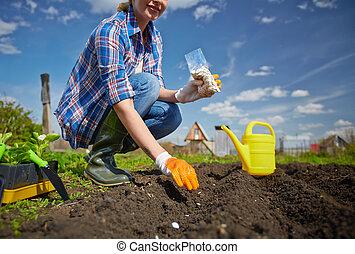 trabalhador, jardim