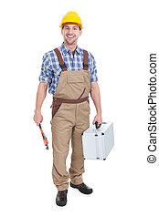 trabalhador, jovem, confiante, chave, toolbox, macho