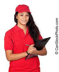 trabalhador, jovem, uniforme vermelho