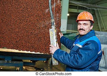 trabalhador, ligado, granito, manufatura