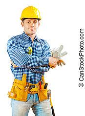 trabalhador, luvas, isolado, segurando