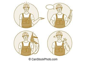 trabalhador manual, conceito, ocupação, trabalho