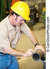 trabalhador, marcação, construção, cano