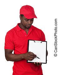 trabalhador, mensageiro, uniforme vermelho