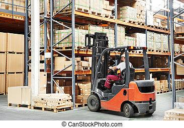 trabalhador, motorista, em, armazém, forklift, carregador,...