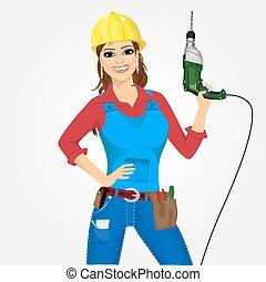 trabalhador, mulher, com, broca
