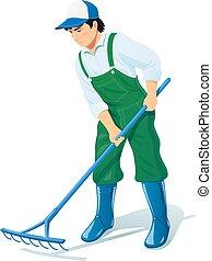 trabalhador, occupation., jardinagem, jardim, rake.