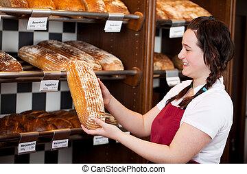 trabalhador, panificadora, pão, ríspido, fresco