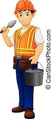 trabalhador, pedreiro, construção, cute, menino, construtor