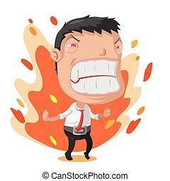 trabalhador, personagem, vetorial, raiva, caricatura, homem