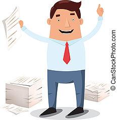 trabalhador, pilhas, escritório, papeis