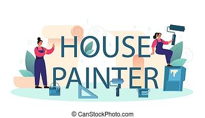 trabalhador, pintor, header., tipográfico, gluing, casa, wallpapers