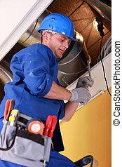 trabalhador, reparar, sistema ventilação