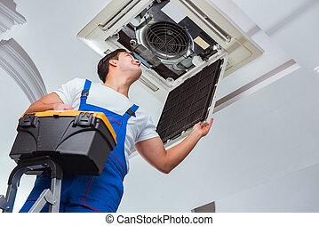 trabalhador, reparar, teto, ar condicionado, unidade