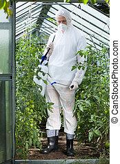 trabalhador, roupa protetora, jardim