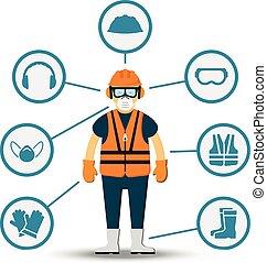 trabalhador, saúde segurança, vetorial, ilustração