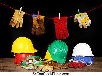 trabalhador, segurança, equipamento