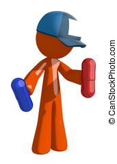 trabalhador, segurando, laranja, correio,  postal, pílulas, homem