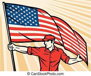 trabalhador, segurando, um, bandeira eua