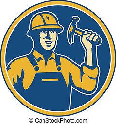 trabalhador, trabalhador, tradesman, construção, martelo