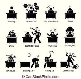 trabalhador, trabalhando, em, um, muito, tenso, escritório, workplace.