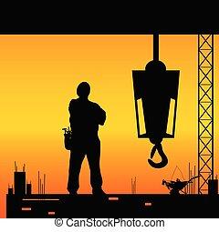 trabalhador, trabalho construção, silueta, lugar