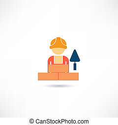 trabalhador, trowel, ícone