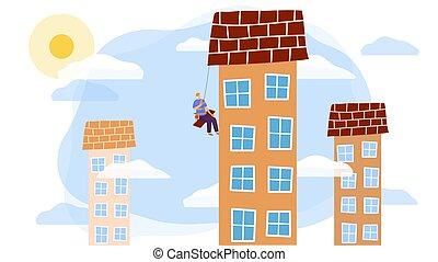 trabalhador, vetorial, personagem, ilustração, arranha-céu, manutenção, caricatura