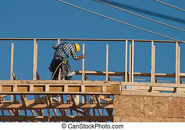 trabalhador, w/nail, arma