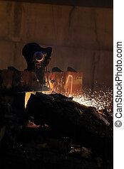 trabalhadores, é, corte, aço